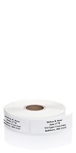 white return address label
