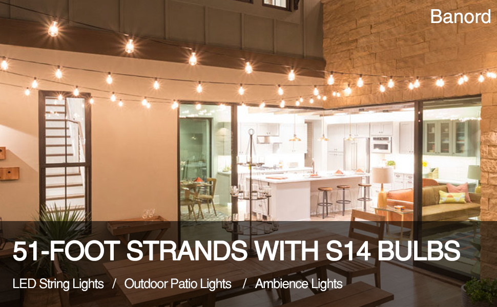 Banord 51Foot string lights with S14 bulbs- waterproof-shatterproof- led string lights outdoor