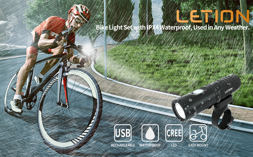 LETION Bike Lights Set Rechargeable 800 Lumen Super Bright Bicycle Lights Waterproof Runtime 5+ Hours Front Lights and Back Rear LED for All Bicycles Mountain Roads Camping