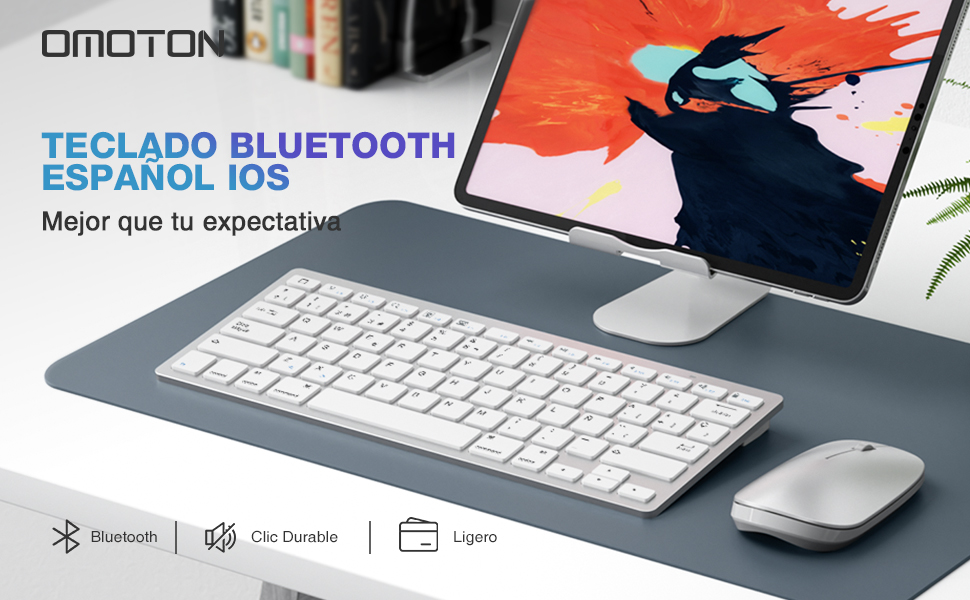OMOTON Pack Teclado y Ratón inalámbrico Bluetooth Teclado Español y Ratón Compatible con iPad 10.2, iPad Air 4 10.9, iPad 8 2020, iPad 9.7, iPad Air, ...