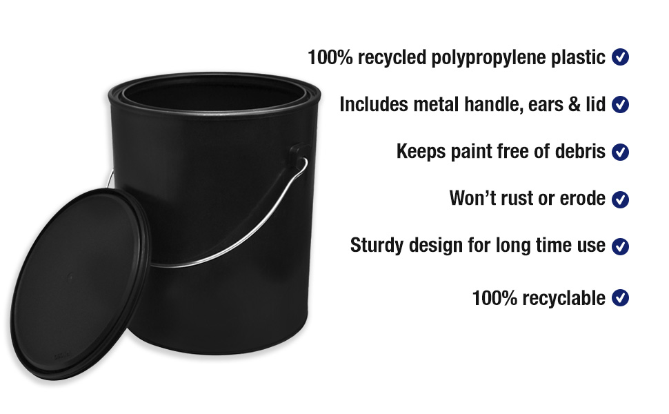 1 Gallon Black All Plastic Polypropylene Paint Can With Ears Bail And Lid Can Made From 100 Recycled Plastic Amazon Com Industrial Scientific