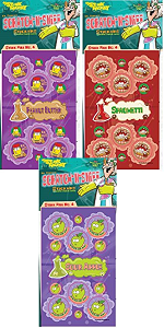 Peanut Butter Stinkys Scratch N Sniff Stickers 3-Pack- Sour Apple Spaghetti 81 Stickers Series4 Just For Laughs Dr