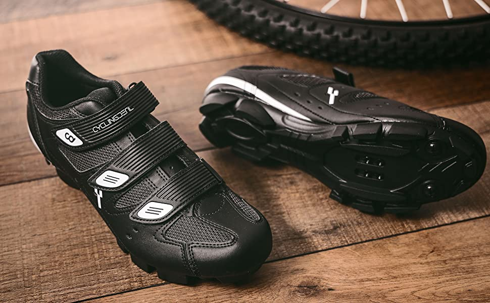 CyclingDeal Mountain Bicycle Bike Men's MTB Cycling Shoes Black Compatible with SHIMANO SPD =
