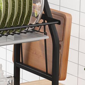 Storage Space Saver Shelf Utensils Holder with 7 Utility Hooks Tableware Drainer Non-slip Black
