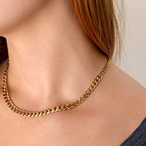 womens gold chain cuban chain necklace chunky chain link necklace gold jewelry for women