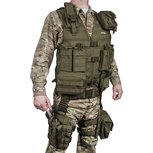tactical vest with leg holster