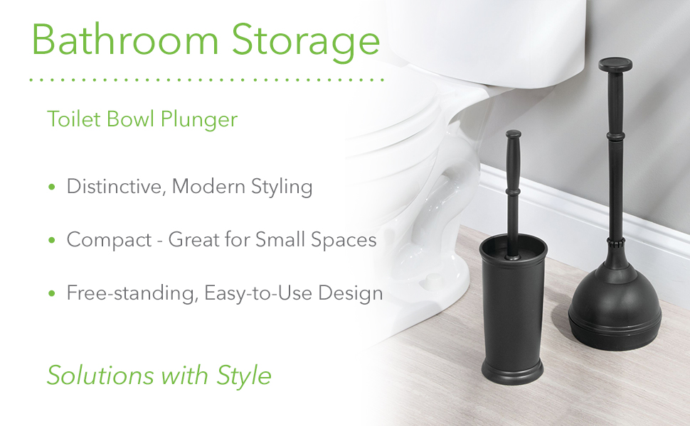 Bathroom storage toilet bowl plunger distinctive modern styling compact freestanding bowl brush