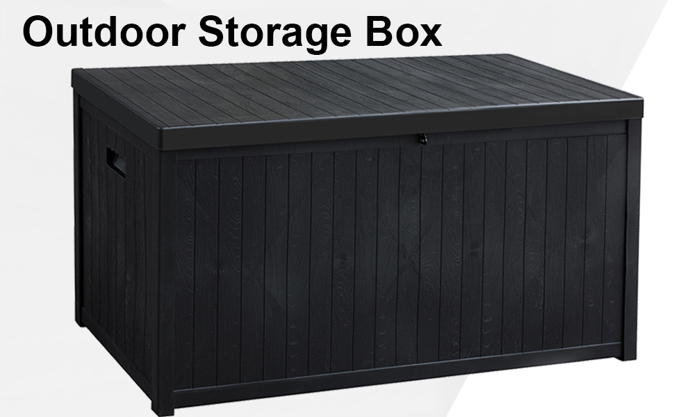 Sunlight Garden Storage Box Weather and Water Resistant Patio Outdoor Storage Chest Bench Store Blanket Cushion Pillow Grey 150x100x100cm Poly Rattan