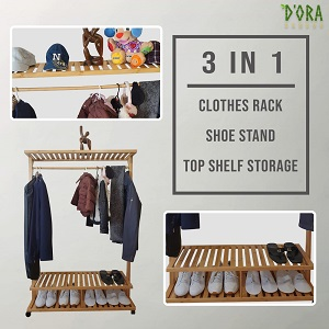 3 in 1 Clothes rack shoe stand with top shelf storage. clothes, shoes, hats and ornaments  displayed