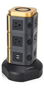 Vertical Power Strip Charger Gray + Black