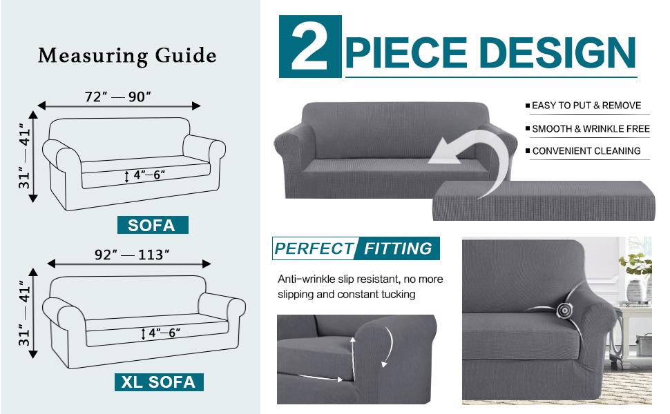set da 2 Basics Griffen 3-Seater Sofa Cover /& Copertura per sedia con braccioli