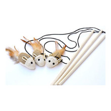Natural Sisal Cat Teaser Wand Toys kittens hemp wood rod bell feather interactive exercise fun set