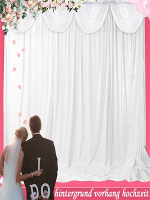 Uyoyous Hochzeit Vorhang Ice Seide Hintergrund Vorhang Hochzeit Tüll Fotografie Vorhang Mit Swag Für Hochzeit Feier Studio Geburtstag Baby Shower Dekoration 3 X 3m Weiß Küche Haushalt