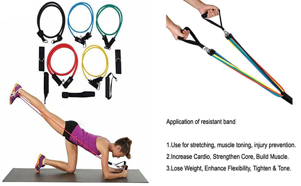 Juego de bandas elásticas resistencia Fitness Guía de entrenamiento Bandas Elásticas Resistencia Cinta Ejercicio Vario nivel resistencia, accesorios ...