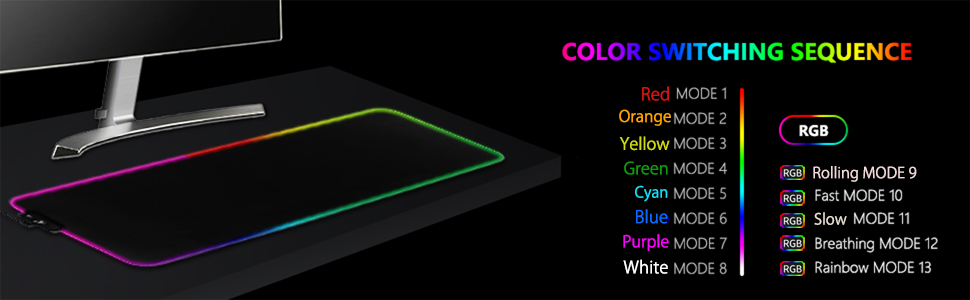 RGB Gaming Mouse Pad Large Extended 13 Lighting Mode LED Soft Mouse Pad keyboard and mouse pad