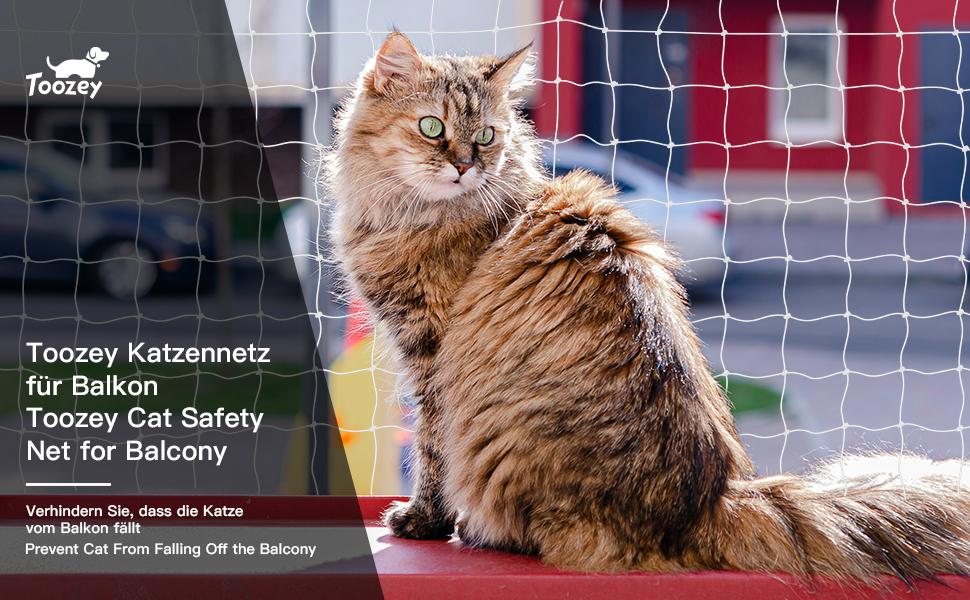 Toozey cat net red de protección de gato para balcón y ventana, red de balcón de 8x3 m, red de protección de red de gato para balcón transparente, incluye cuerda de sujeción