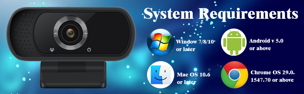 webcam compatible with windows/max os/android/chrome os