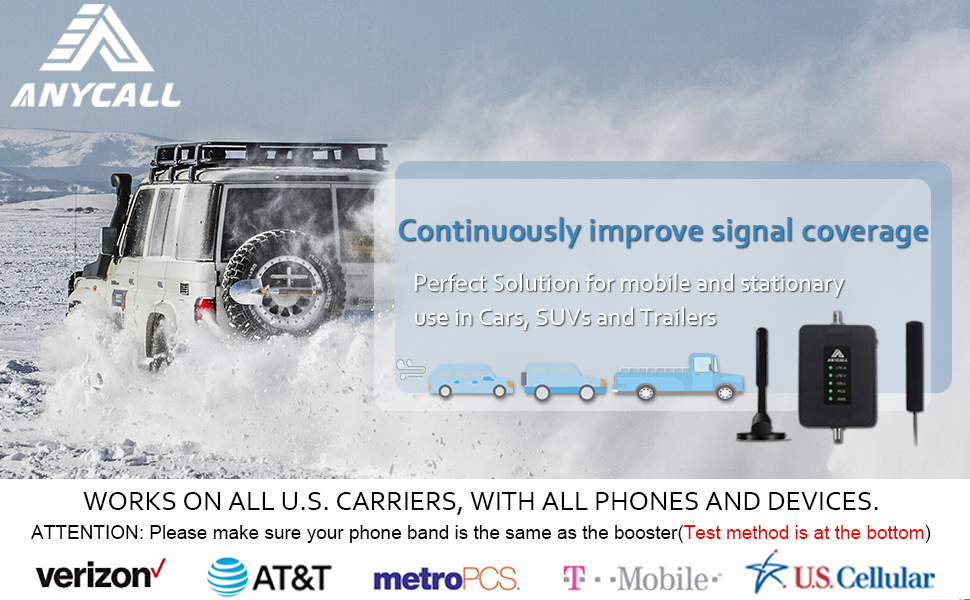 Anycall cell phone signal booster kit for car and suv