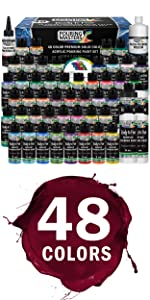48-Color Ready to Pour Acrylic Pouring Paint Set with Silicone Oil amp; Gloss Medium