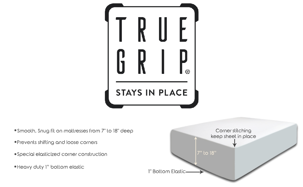 True Grip technology for bed sheets