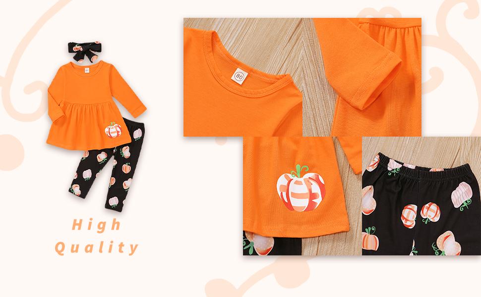 orange pumpkin top shirt+black pants set