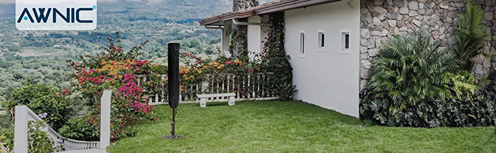 Awnic Funda Sombrilla Jardin Impermeable Funda Parasol de Soporte Lateral Funda Sombrilla Playa 420D Oxford Impermeable Resistente al Desgarro Alemania TÜV Rheinland Certificado 265CM: Amazon.es: Jardín