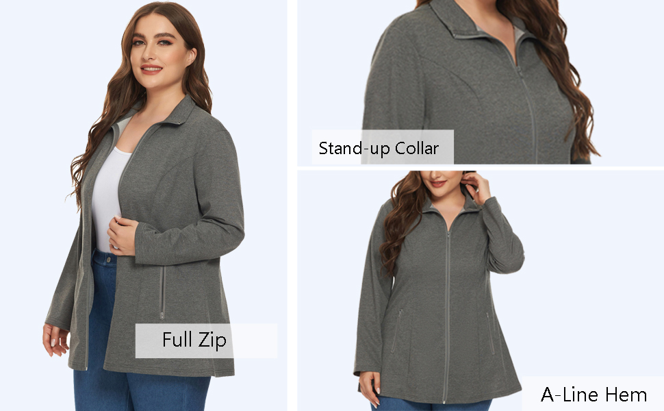 Plus Size Casual Zip Jacket