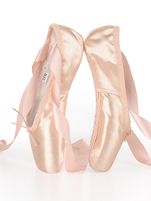 Soudittur Ballet Pointe Shoes Professional Dance Shoes Pink Ballet Flats with Ribbons and Toe Pads for Girls Women Choose a Size Bigger