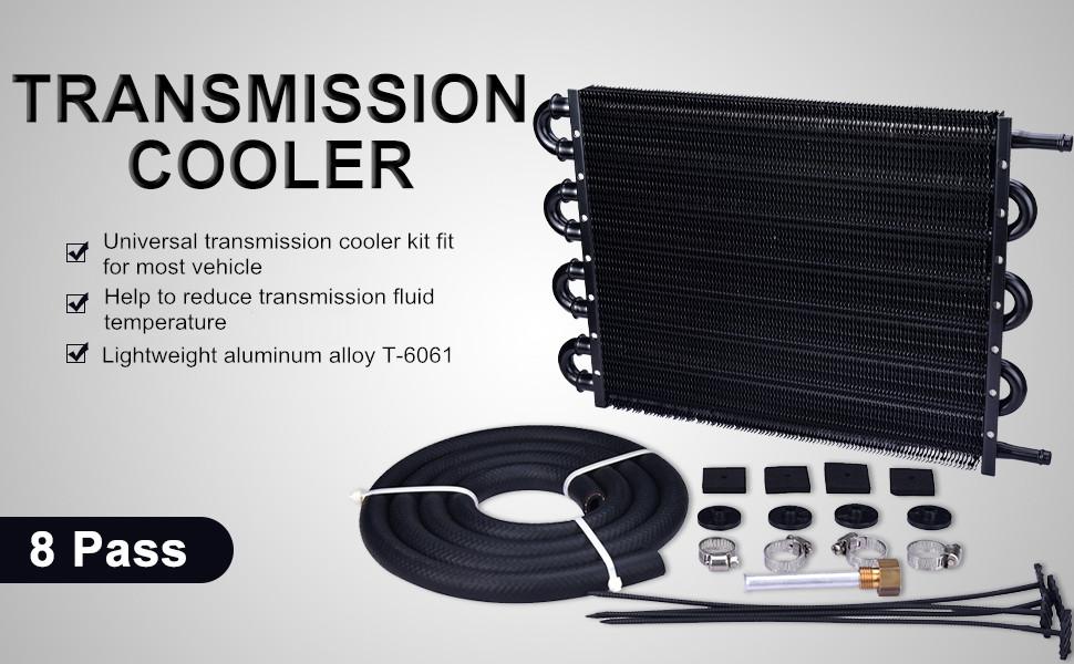 EVIL ENERGY 4 Pass Tube and Fin Transmission Cooler Universal 5//16 Oil Cooler Kit Aluminium Black