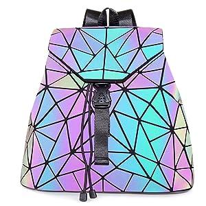 geometric luminous backpack luminesk backpack iridescent handbag reflective geometric backpack