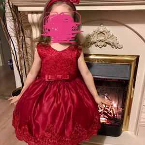 red lace baby dress