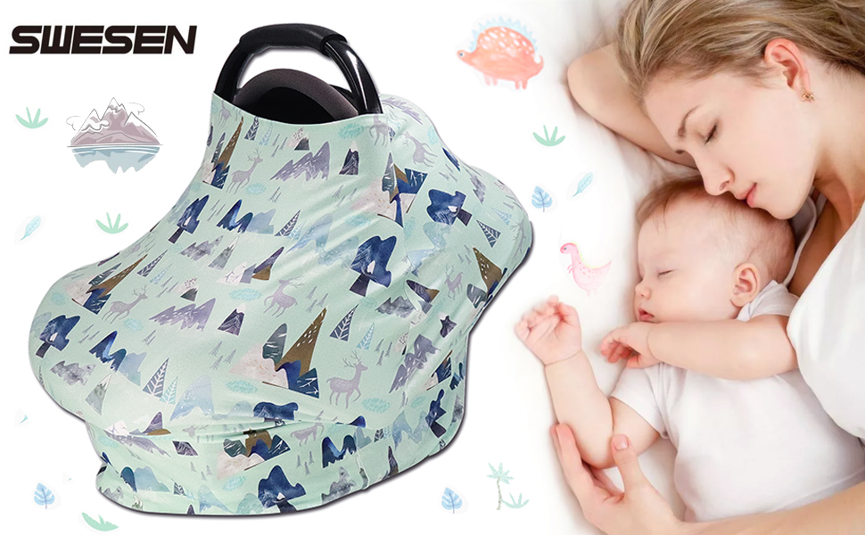 Streathy Baby Car Seat Cover  Nursing Cover for Breastfeeding Infant Carseat Canopy Covers Scarf