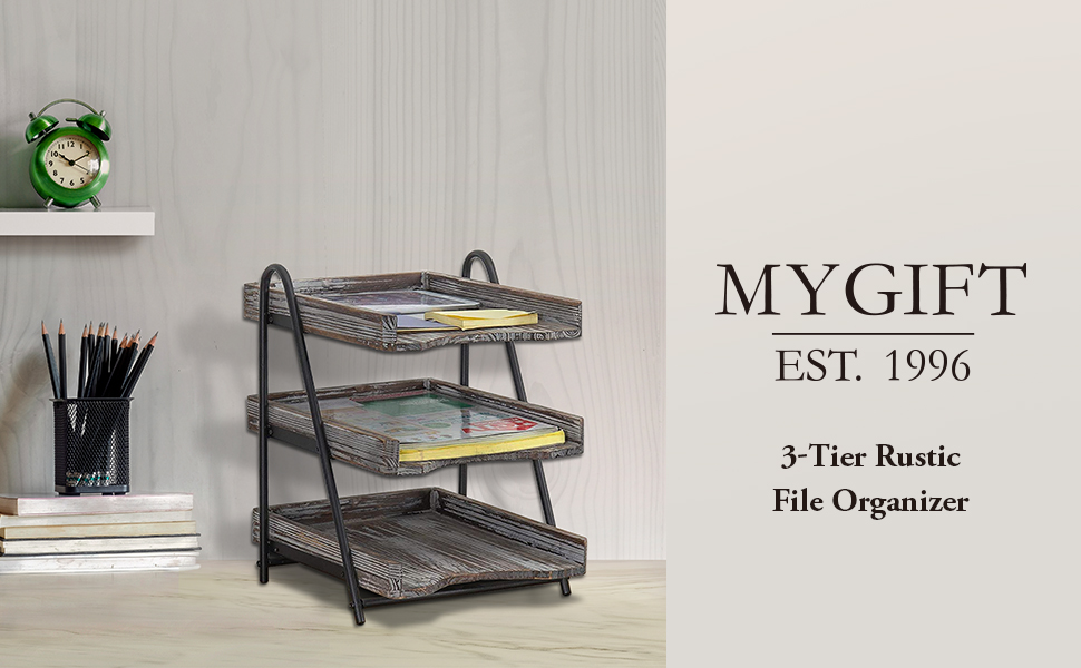 MyGift 3-Tier Torched Wood Desktop Document Tray, Office File Folder Rack