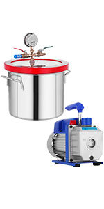 1.5 gallon degassing chamber with pump