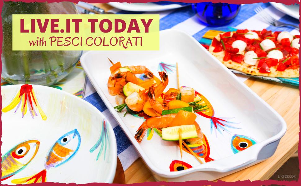 Details about  /Vietri Pesci Colorati Red Medium Fish Tray