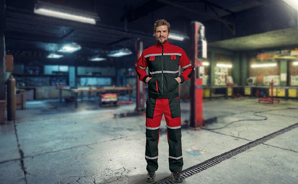 DINOZAVR Tayra Impermeable Pantalones de Trabajo Resistentes al Aceite para Mec/ánicos Rojo Hombre