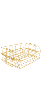 Superbpag Office Supplies Metal Stackable File Document Letter Tray Organizer for Desk, Gold