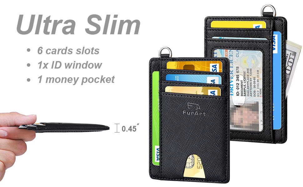 FurArt Slim Minimalist Wallet, Genuine Leather Credit Card Holder, RFID Blocking