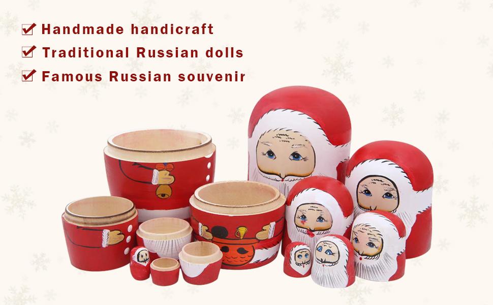 Winterworm Juego de 8 Navidad Mu/ñecas Matrioska Santa Mu/ñecas Rusas Ni/ños