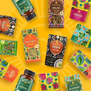 Aduna Range; tea, superfood powders, fonio and moringa capsules