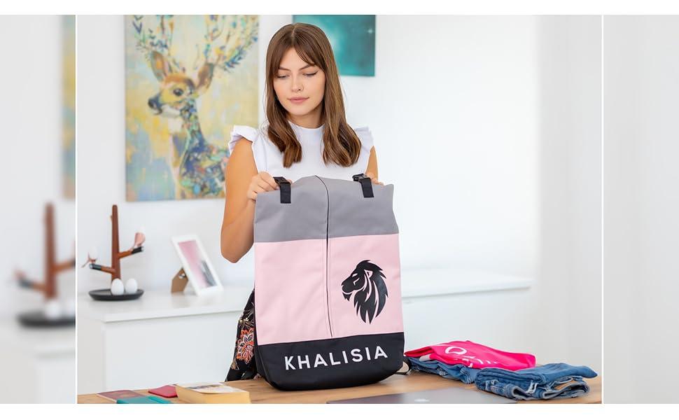 Damen Rucksack Khalisia Rolltop Daypack Fahrradtasche Rosa Freizeittasche Handtasche Wasserdicht