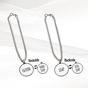 soap tag, soap necklace, dispenser tag