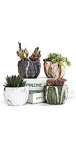 SUN-E 3.35 Inch Marbling Ceramic Flower Pot Set
