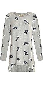 lavielente dinosaur hi-lo top tunic top grey