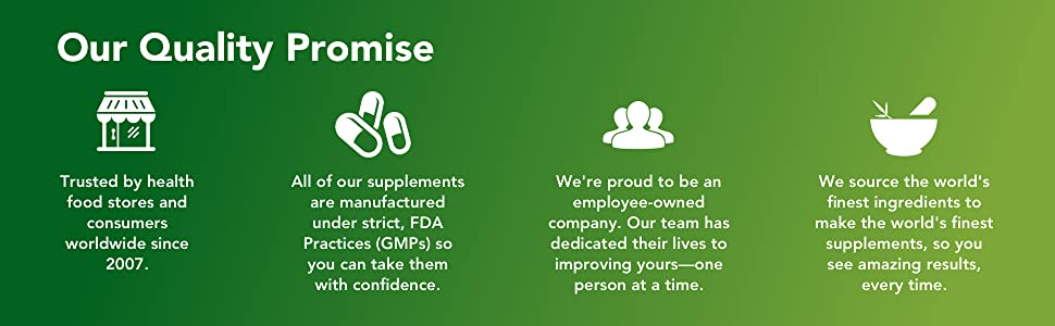 quality promise, health food store, fda, gmp, employee-owned, fine ingredients, supplements