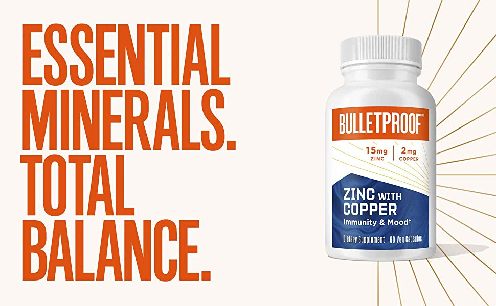 Zinc with Copper, Antioxidants, Support Healthy Immune System, Mood, Heart, Hormone Balance