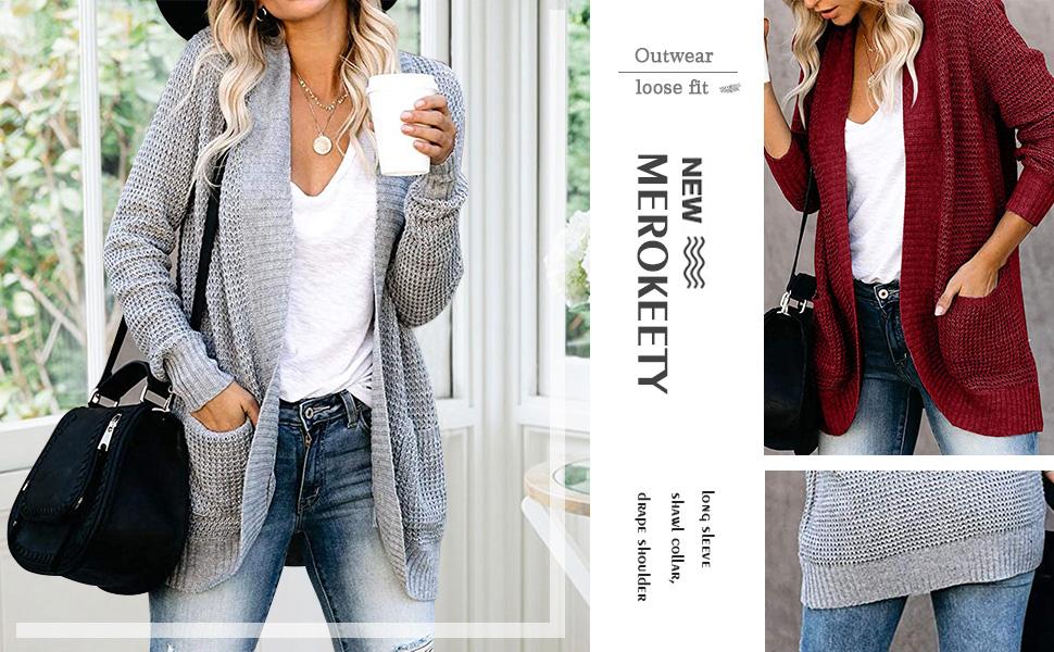 MEROKEETY Womens Open Cardigans Sweaters Long Sleeve Chunky Knit Boyfriend Drape Outwear with Pocket