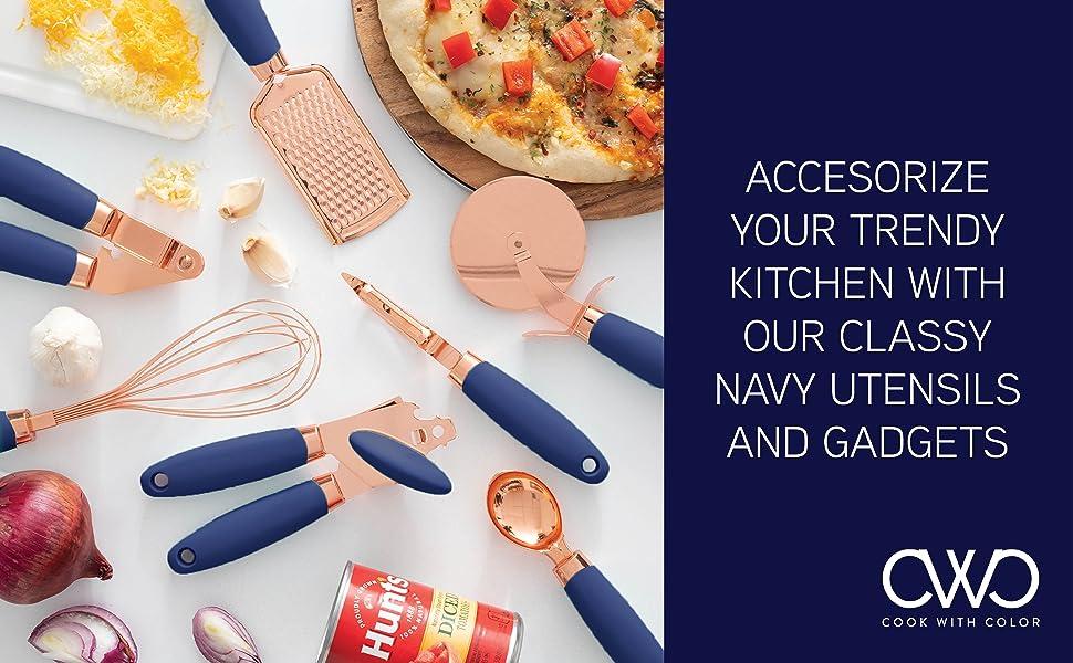 navy kitchen utensils