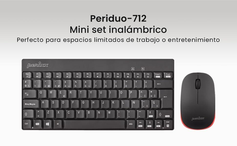 Perixx PERIDUO-712 Mini Pack de Teclado y Ratón Inalámbrico Combo, Color Negro, Español QWERTY