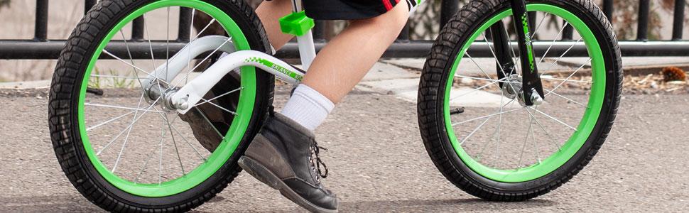 large balance bike tires and foot rest for older children